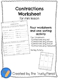 Contractions Worksheets - Mini Lesson, Independent Practic