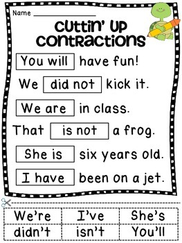 Contractions Worksheet Activities by Miss Giraffe | TpT