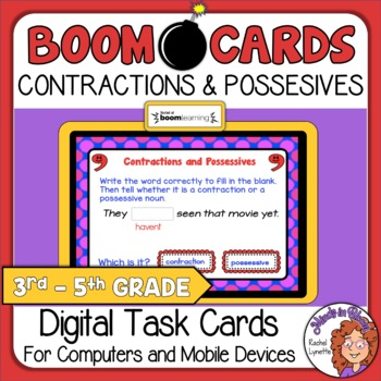 Contractions and Possessives Digital Task Cards on Boom Learning!