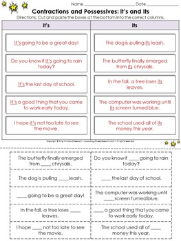 Contractions and Possessives: It's and Its Cut and Paste Activity - King Virtue