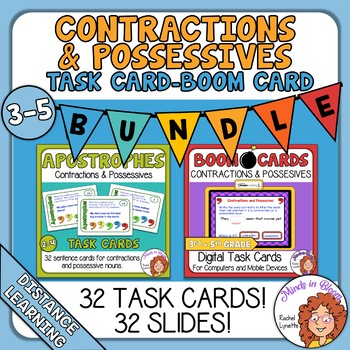 Contractions and Possessives Task Cards and Digital Boom Cards Bundle