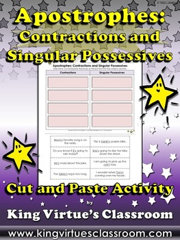 Apostrophes: Contractions and Possessives - 's Cut and Pas