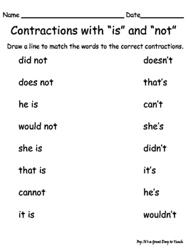 Contractions with is and not
