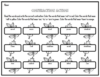 {Free Preview!} Contractions - 'll, 's, 'm, n't - Contraction Spelling