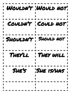 Contractions match printable