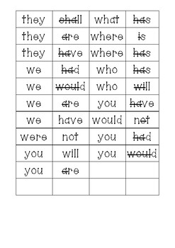 Contractions matching game with 3 level options