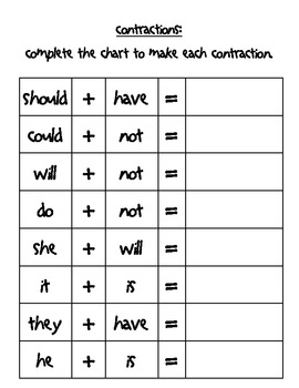 Contractions- matching game and worksheets black and white