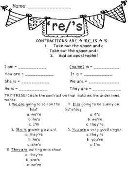 Contractions- 're and 's Freebie