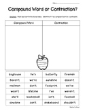 Contractions vs. Compound Words Sorting Practice Worksheet