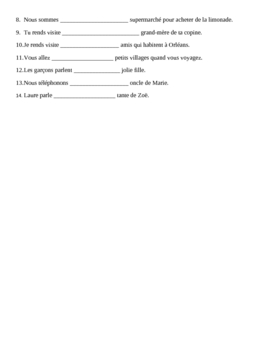 Contractions with A + definite article in French worksheet 2