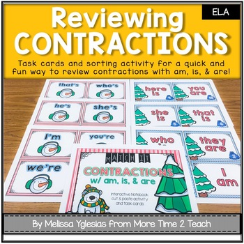 Contractions with AM, IS, & ARE {Task Cards & Sort It Activity}