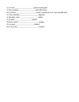 Contractions with DE + definite article in French worksheet 1