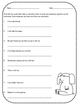 Contractions with Elephant, Piggie, and the Pigeon