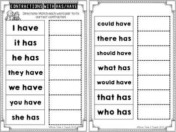 Contractions with HAS & HAVE {Task Cards & Sort It Activity}