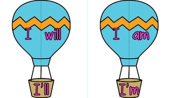 Contractions with Hot Air Balloons! (Six Different Sets)