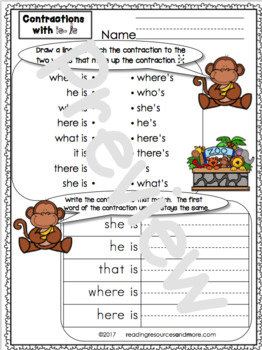 Contractions with 'Is' Printables and Activities