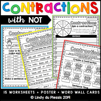 10 Printable Contractions Worksheets 1st 2nd Grade Ela Etsy