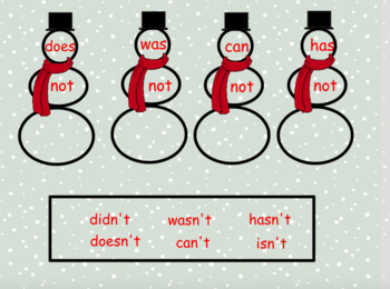 """Contractions with """"Not"""" Winter Themed Activboard Flipchart"""