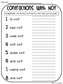 Contractions with Not Worksheet by Whitney Gulledge | TpT