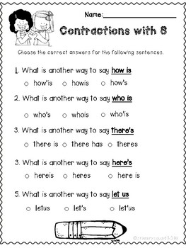 Contractions with S Worksheet Pack