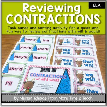 Contractions with WILL & WOULD {Task Cards & Sort It Activity}