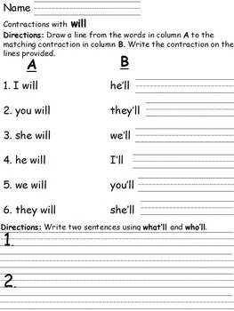 Contractions with Will