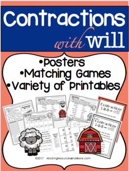 Contractions with 'Will' Printables and Activities