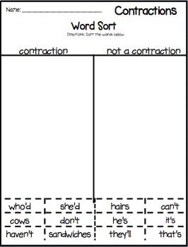 Contractions word work