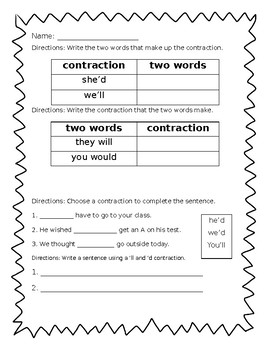 Contractions would and will ('d + 'll) - Journeys Unit 4, Lesson 18