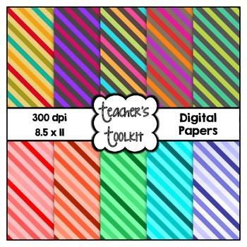 Contrasting Stripes Digital Background Papers {8.5 x 11} Clip Art CU OK