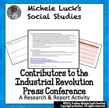 Contributors to the Industrial Revolution Press Conference Activity