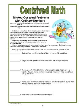 Contrived Math--Tricked-Out Word Problems with Ordinary Numbers