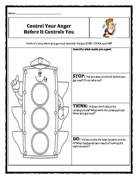 Control Your Anger Before It Controls You worksheet