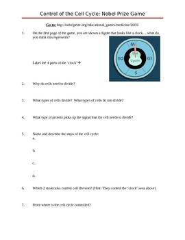 Control of the Cell Cycle online game questions