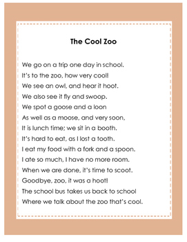"""Controlled Reading Poem for Dipthong oo (as in """"moon"""")"""