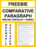 Comparative Paragraph Writing Checklist Guide & Rubric FREE