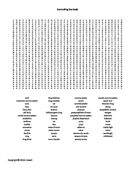 Controlling the Body Word Search for Middle School Science