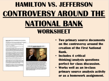 Controversy Around the National Bank - Hamilton vs. Jeffer