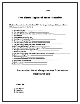 Convection, Conduction, Radiation worksheet