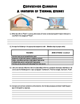 Convection Currents Worksheet