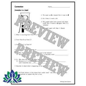 Middle School Convection Worksheet NGSS MS-PS3-3 MS-PS3-4 MS-PS3-6
