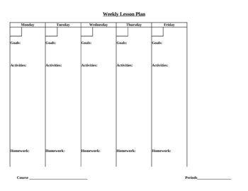 Convenient Weekly Lesson Plan Template