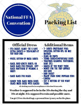 Convention Packing List
