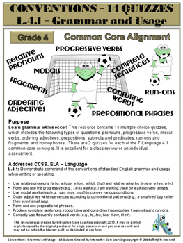 Grammar & Usage - 14 Quizzes: Language 4.1 - Common Core Alignment