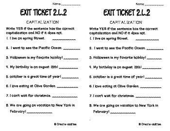 Capitalization Punctuation and Spelling Exit Tickets 2.L.2