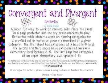 FREEBIE! Convergent & Divergent Naming Game: Language Therapy & Intervention
