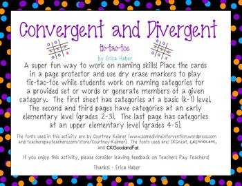 FREEBIE! Convergent & Divergent Naming Game: Language Ther