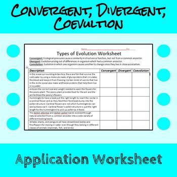 Convergent Evolution, Divergent Evolution, and Coevolution Worksheet