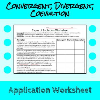 Convergent Evolution, Divergent Evolution, and Coevolution