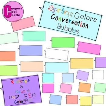 Hand Drawn Conversation Bubbles (Spring Colors)